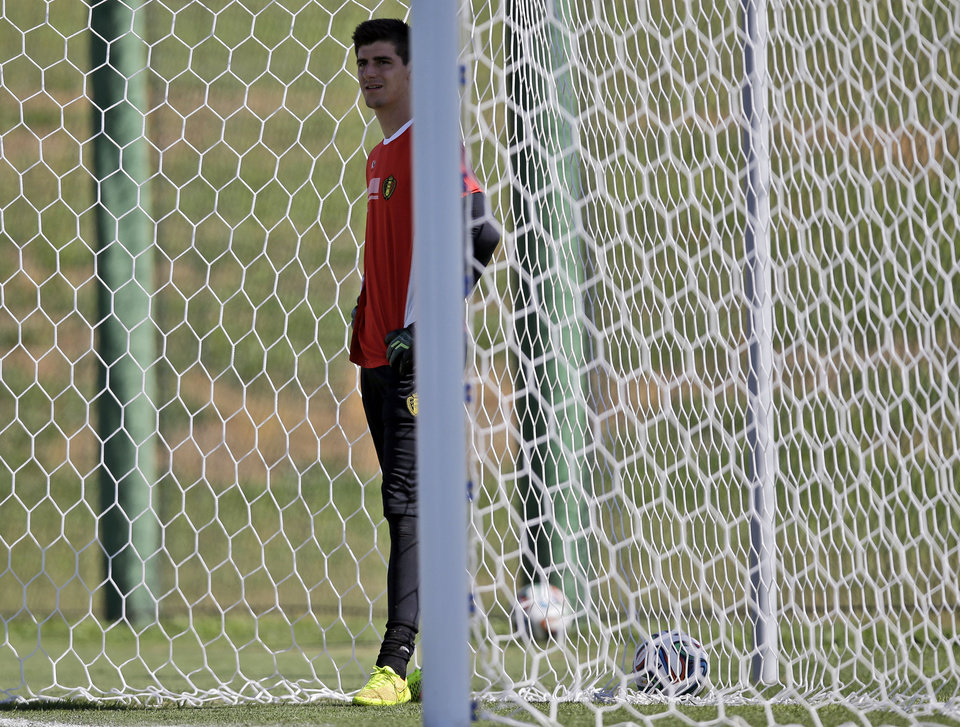 Photo - Belgium's goalkeeper Thibaut Courtois attends a team training session in Mogi Das Cruzes, Brazil, Friday, June 13, 2014. Belgium play in group H of the 2014 soccer World Cup. (AP Photo/Andrew Medichini)