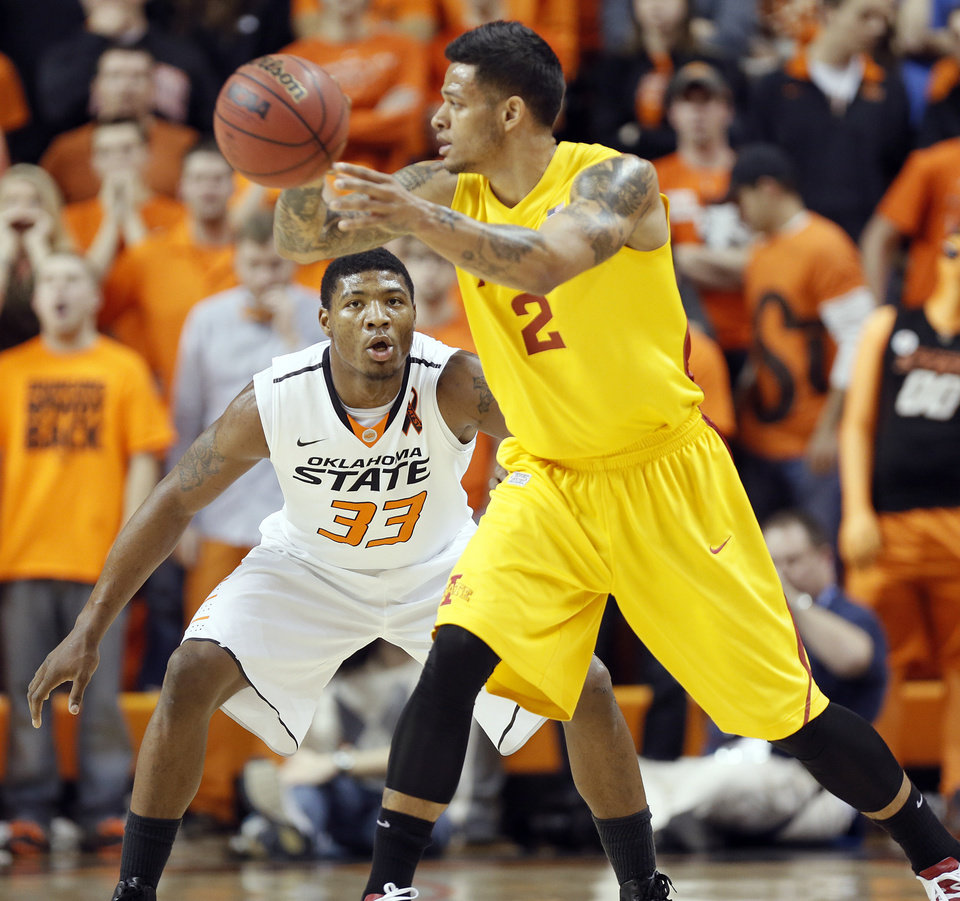 Oklahoma State Cowboys\' Marcus Smart (33) defends on Iowa State Cyclones\' Chris Babb (2) during the college basketball game between the Oklahoma State University Cowboys (OSU) and the Iowa State University Cyclones (ISU) at Gallagher-Iba Arena on Wednesday, Jan. 30, 2013, in Stillwater, Okla. Photo by Chris Landsberger, The Oklahoman