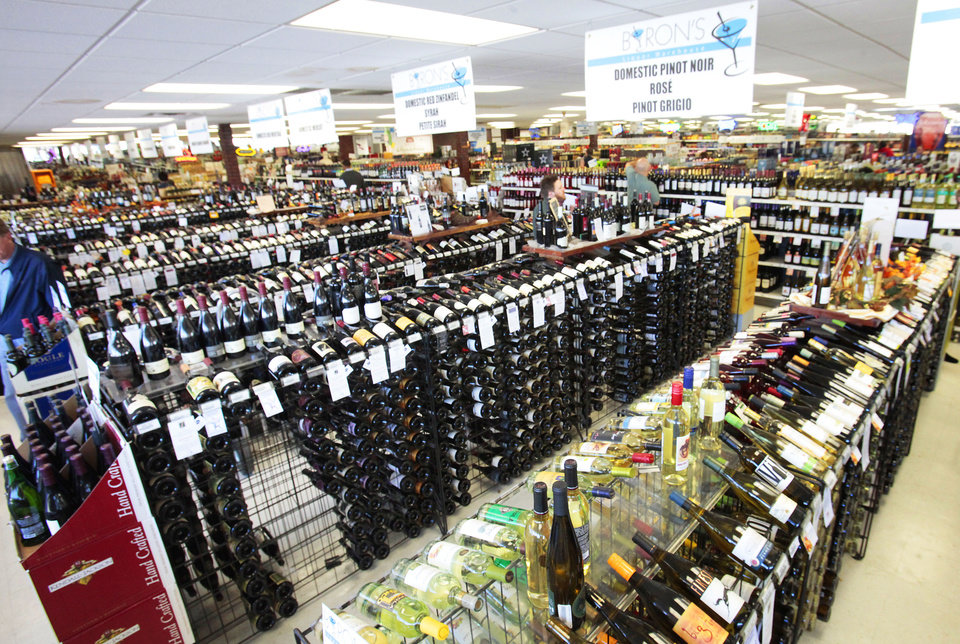 Photo - Wine department in Byron's Liquor Stores, Wednesday, November 23, 2011. Photo by David McDaniel, The Oklahoman ORG XMIT: KOD
