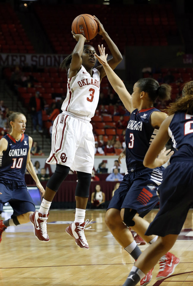 Photo - Oklahoma Sooner's Aaryn Ellenberg (3) shoots as the University of Oklahoma Sooners (OU) play the Gonzaga Bulldogs in NCAA, women's college basketball at The Lloyd Noble Center on Thursday, Nov. 14, 2013  in Norman, Okla. Photo by Steve Sisney, The Oklahoman