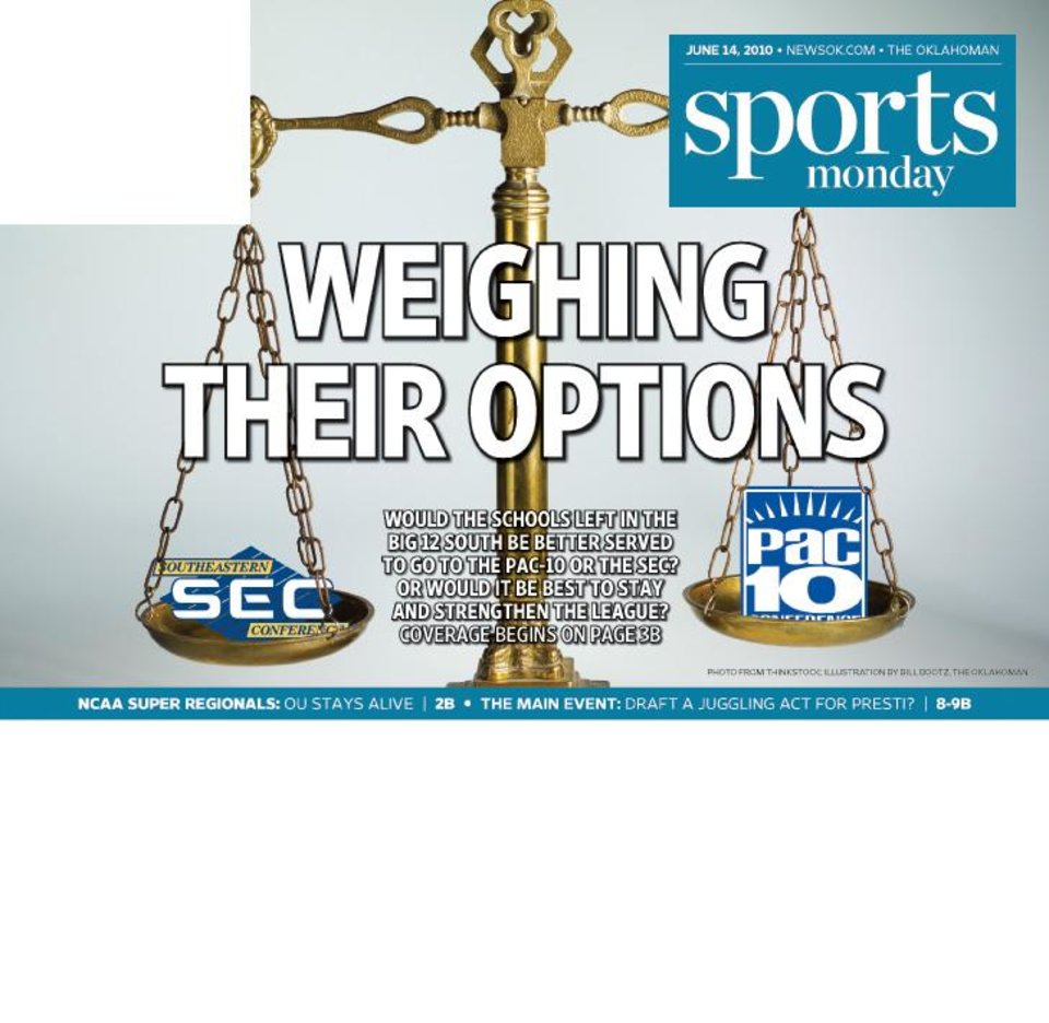 Photo - SCALE graphic / illustration for story: WEIGHING THEIR OPTIONS: Would the schools left in the Big 12 South be better served to go to the Pac-10 or the SEC? Or would it be best to stay and strengthen the league?