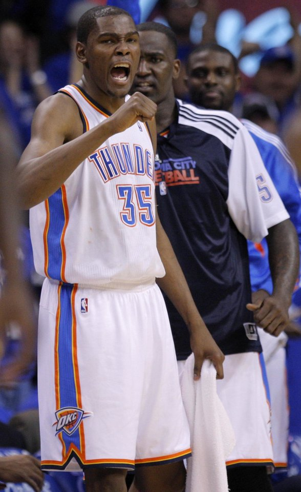 Oklahoma City\'s Kevin Durant (35) reacts during game two of the Western Conference semifinals between the Memphis Grizzlies and the Oklahoma City Thunder in the NBA basketball playoffs at Oklahoma City Arena in Oklahoma City, Tuesday, May 3, 2011. Photo by Bryan Terry, The Oklahoman