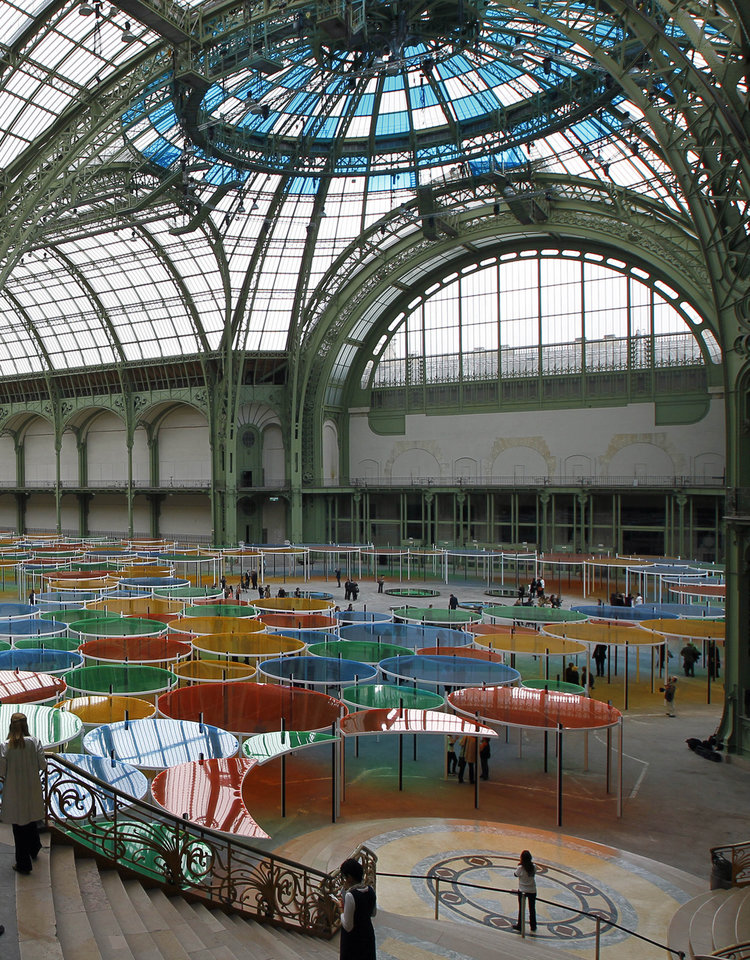 Photo -   View of the creation of contemporary artist Daniel Buren in the Grand Palais during the opening of ground-breaking Monumenta exhibit in Paris, Wednesday May 9, 2012. Monumenta, the hugely-popular annual installation project that's in its fifth year, dares an artist of international stature to