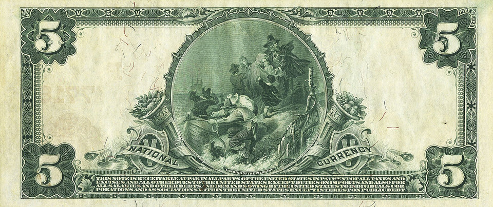 In this Sept. 2012 photo provided by Heritage Auctions, the back of a 1905 $5 bill is shown. How do you turn a $5 bill into $200,000? Let it sit around a century or so. A Dallas auctioneer is about to off a $5 bill presented in 1905 to Vice President Charles W. Fairbanks _ Theodore Roosevelt\'s No. 2 _ from the First National Bank of Fairbanks, Alaska. (AP Photo/Heritage Auctions)
