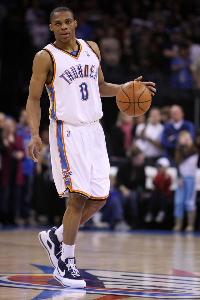 Photo - OKLAHOMA CITY THUNDER / MIAMI HEAT / NBA BASKETBALL: Russell Westbrook during the Thunder - Miami game January 18, 2009 in Oklahoma City.    BY HUGH SCOTT, THE OKLAHOMAN ORG XMIT: KOD