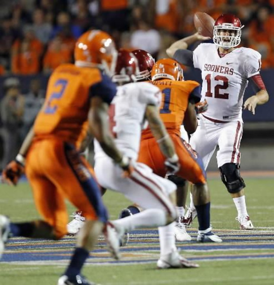 Oklahoma Sooners quarterback Landry Jones (12) passes the ball during the college football game between the University of Oklahoma Sooners (OU) and the University of Texas El Paso Miners (UTEP) at Sun Bowl Stadium on Saturday, Sept. 1, 2012, in El Paso, Tex. Photo by Chris Landsberger, The Oklahoman