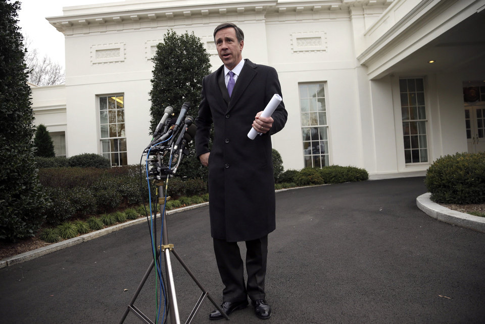 Photo - Arne Sorenson, President and CEO of Marriott International speaks with members of the media outside the West Wing of the White House following a private meeting with President Obama and other business leaders, Tuesday, Feb. 5, 2013, to discuss immigration reform and the economy. (AP Photo/Pablo Martinez Monsivais)