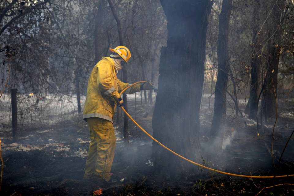 Photo - A Hickory Hills firefighter puts out hot spots in Luther, Okla., after wildfire moved through the area on Friday, August 3, 2012. Photo by Bryan Terry, The Oklahoman