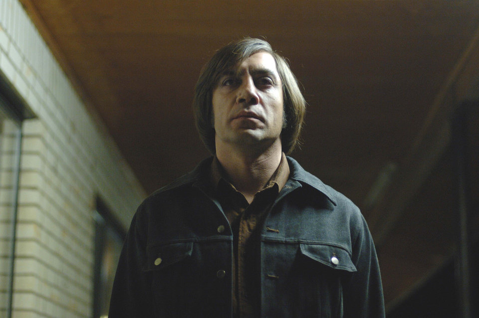 Photo -   FILE - This undated publicity file photo released by Miramax shows actor Javier Bardem as Anton Chigurh in a scene from