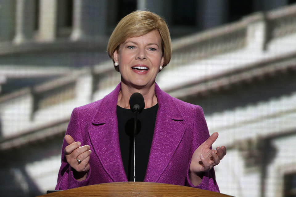 Photo -   Candidate for US Senate Tammy Baldwin of Wisconsin addresses the Democratic National Convention in Charlotte, N.C., on Thursday, Sept. 6, 2012. (AP Photo/J. Scott Applewhite)