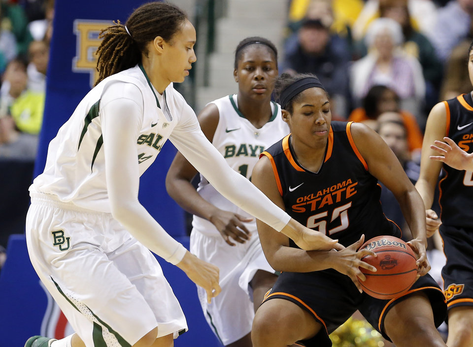 Photo - Oklahoma State's LaShawn Jones (55) grabs the ball beside Baylor's Brittney Griner (42) during the Big 12 tournament women's college basketball game between Oklahoma State University and Baylor at American Airlines Arena in Dallas, Sunday, March 10, 2012.  Oklahoma State lost 77-69. Photo by Bryan Terry, The Oklahoman