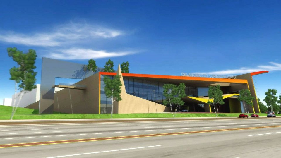 Photo - This provided illustration shows the proposed  Oklahoma City Convention Center.