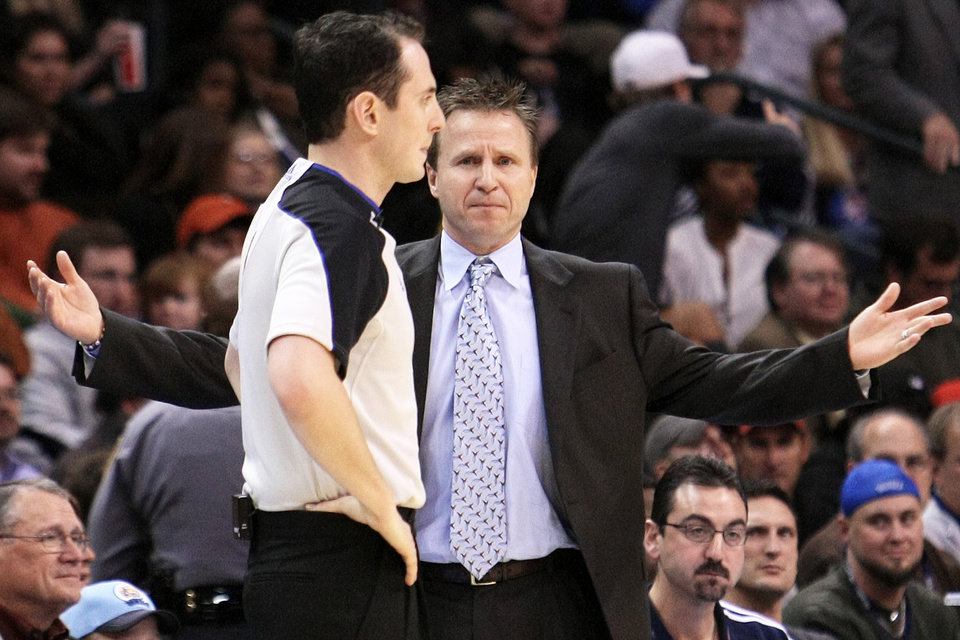 Photo - Thunder coach Scott Brooks said the team played well in November, and it will need much of the same in December. Photo by Hugh Scott, The Oklahoman