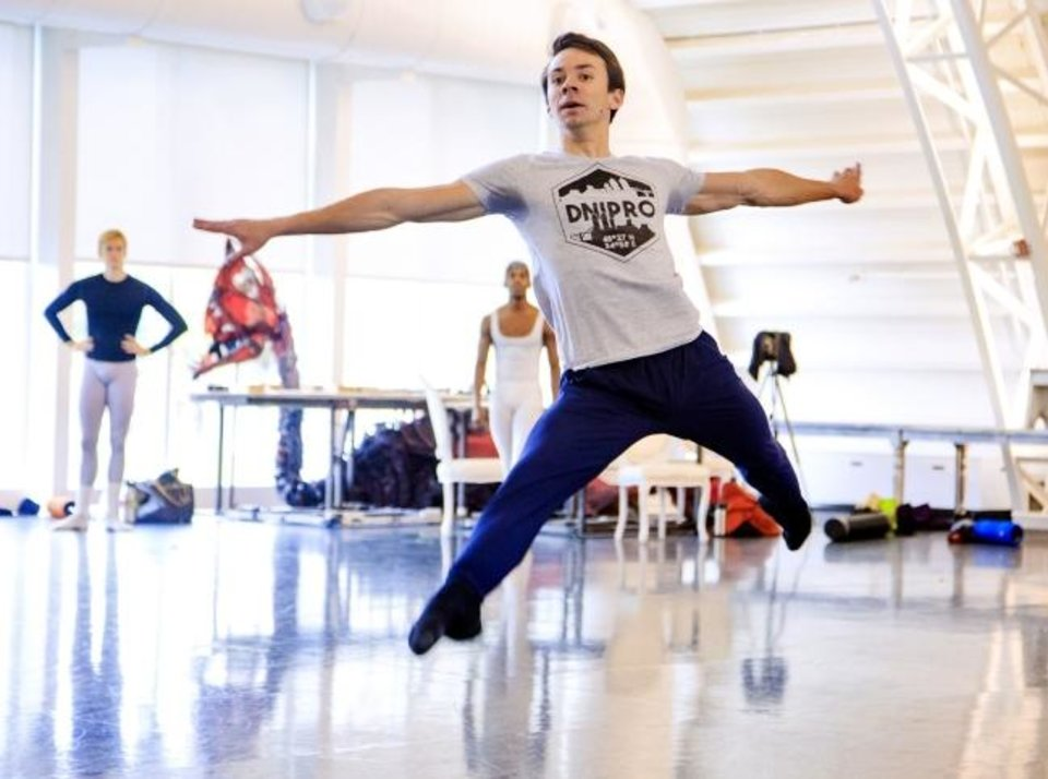 Photo -  Oklahoma City Ballet principal dancer Alvin Tovstogray leaps during rehearsals for the Oklahoma City Ballet's production of