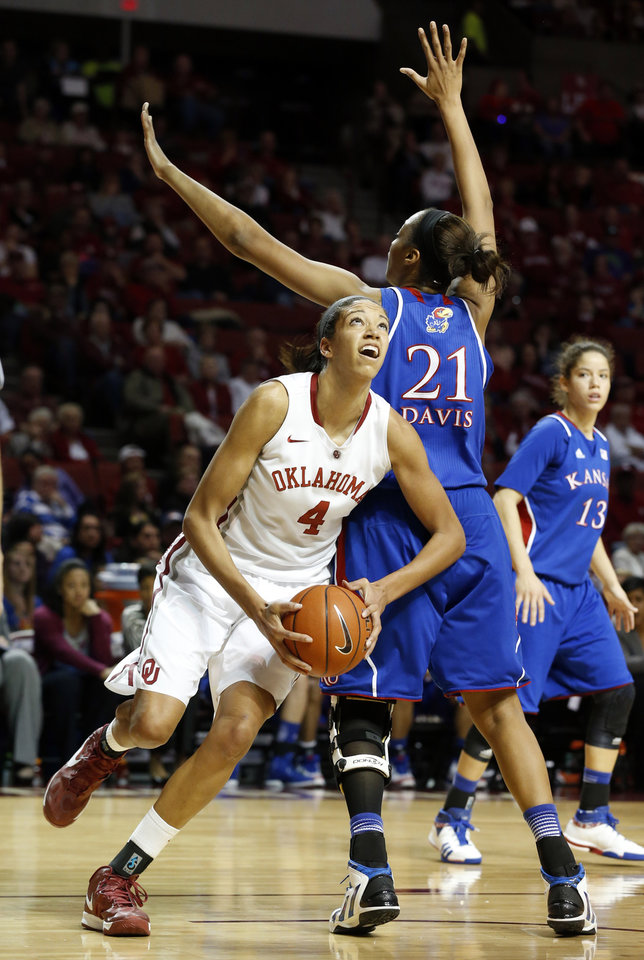 Oklahoma Sooner's Nicole Griffin (4) goes around Kansas Jayhawks' Carolyn Davis (21) as the University of Oklahoma Sooners (OU) play the Kansas Jayhawks in NCAA, women's college basketball at The Lloyd Noble Center on Saturday, March 2, 2013  in Norman, Okla. Photo by Steve Sisney, The Oklahoman