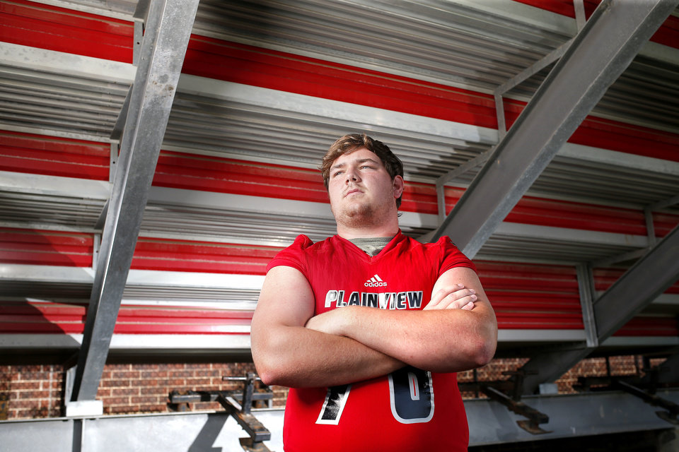 Photo - Eli Russ poses for a photo at Plainview High School in Ardmore, Okla., Tuesday, July 9, 2019. [Sarah Phipps/The Oklahoman]