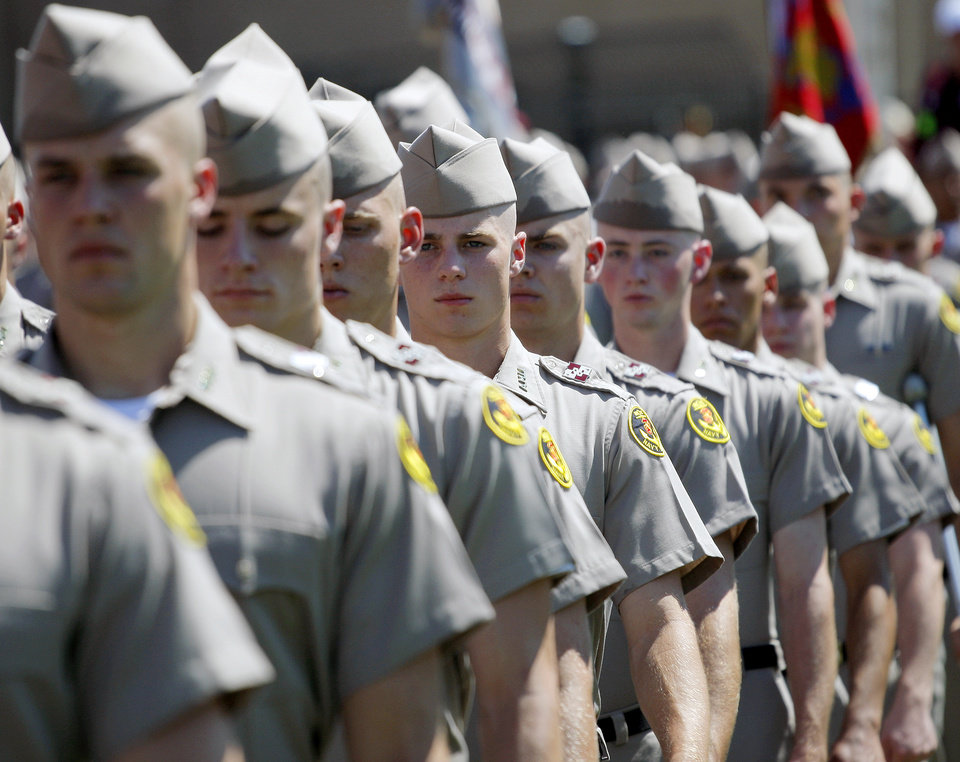 Members of the Corps of Cadets march into the stadium before the Oklahoma State-Texas A&M game in College Station, Texas, on Saturday. Photo by Nate Billings, The Oklahoman