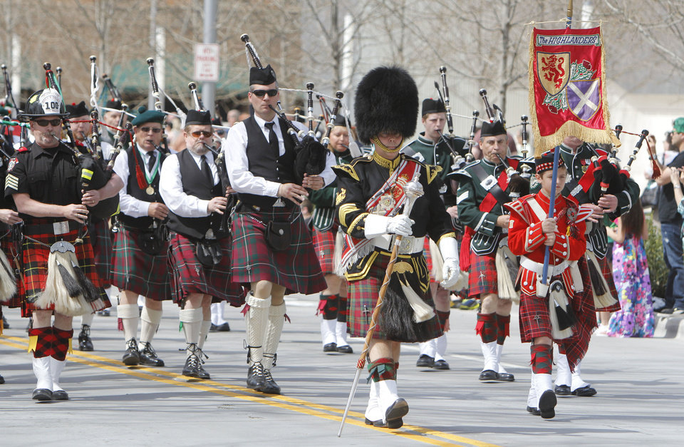 The Highlanders marched and played traditional instruments in the annual Saint Patrick's Day Parade in downtown Oklahoma City, OK, Saturday, March 16, 2013,  By Paul Hellstern, The Oklahoman
