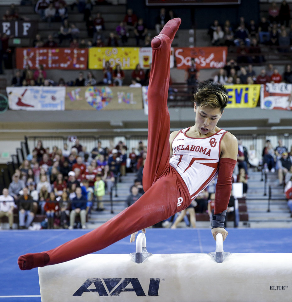 Photo -  Yul Moldauer scored the highest all-around performance of the season, 87.150, on Feb. 3 against Nebraska and Stanford. [PHOTO PROVIDED BY TY RUSSELL]