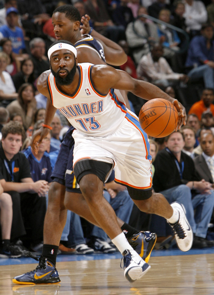 Oklahoma City\'s James Harden drives up court during the NBA basketball game between the Oklahoma City Thunder and Utah Jazz in the Oklahoma City Arena on Sunday, Oct. 31, 2010. Photo by Sarah Phipps, The Oklahoman