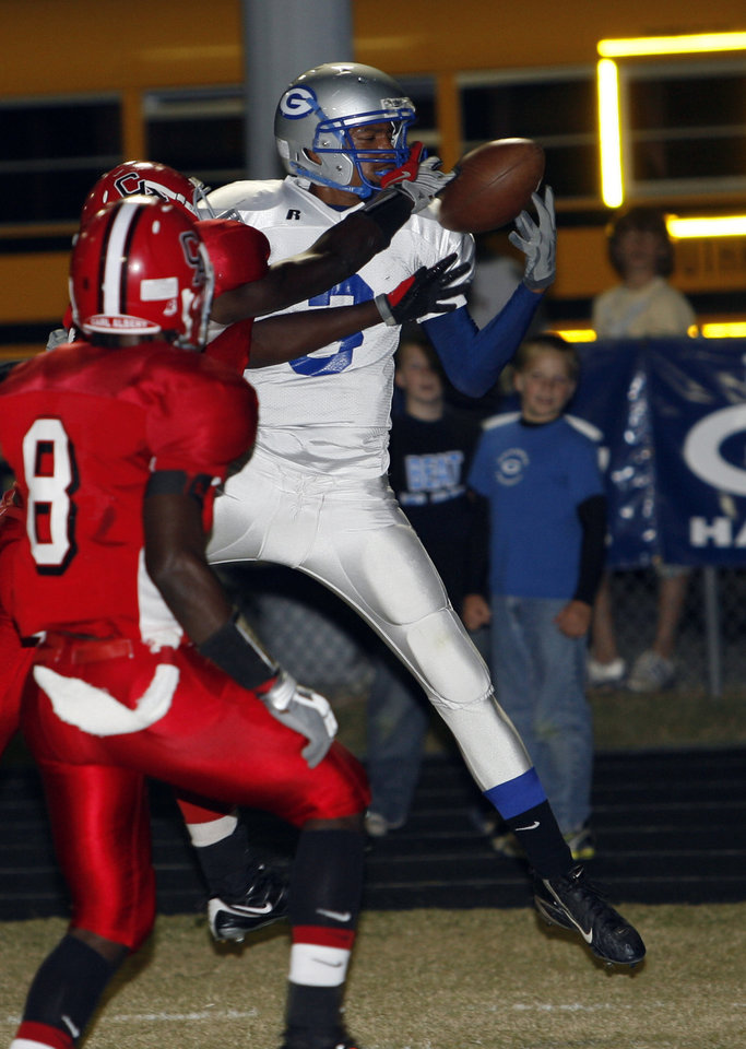 Guthrie's Donte Foster (3) catches a pass but is ruled out of bounds against Carl Albert in high school football at Jim Harris Stadium  in Midwest City, Oklahoma on Thursday October 16, 2008.  