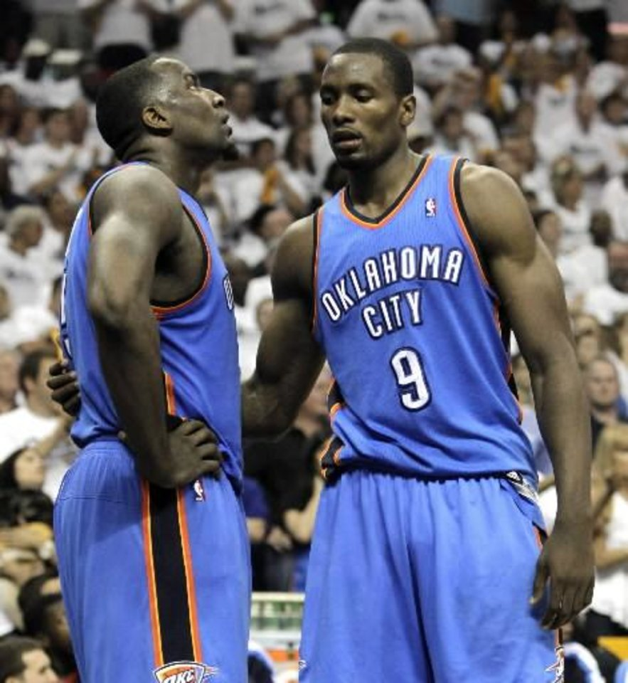 Kendrick Perkins (left) and Serge Ibaka must step up tonight if the Oklahoma City Thunder wants to even this series