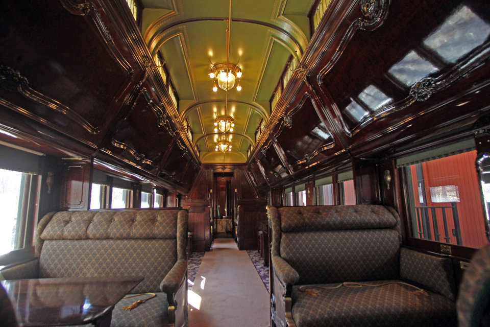 This Monday, Nov. 19, 2012 photo shows the interior of the Pullman car owned by Robert Todd Lincoln at the Robert Todd Lincoln mansion Hildene in Manchester, Vt. The Georgian Revival home was built in 1905 by Robert Todd Lincoln, the only one of the president's four children to survive to adulthood. (AP Photo/Toby Talbot)