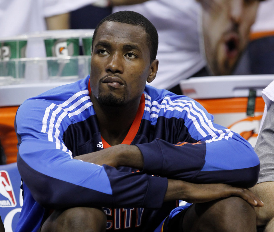 Oklahoma City Thunder forward Serge Ibaka watches during the final moments of Game 6 against the Memphis Grizzlies in a second-round NBA basketball playoff series on Friday, May 13, 2011, in Memphis, Tenn. The Grizzlies won 95-83 to even the series 3-3. (AP Photo/Lance Murphey)