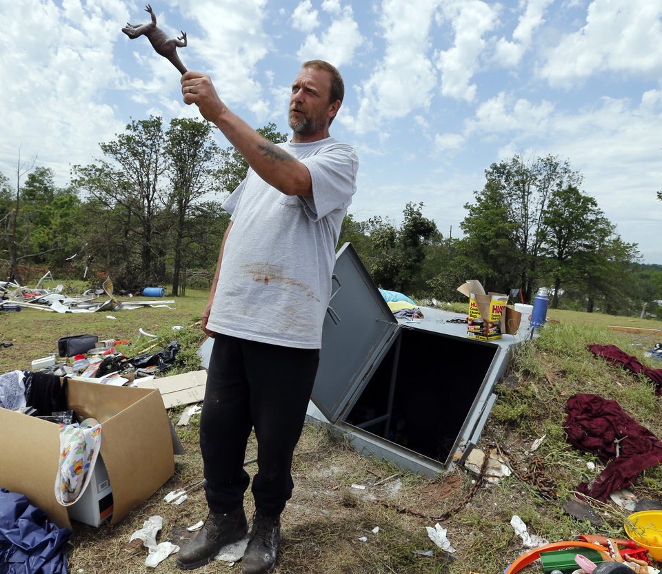 Terry DeSpain stands in front of the shelter where he, his family and several neighbors sought refuge from Sunday's tornado in the Woodlands and Pecan Valley area on Thursday, May 23, 2013 in Little Axe, Okla.  Photo by Steve Sisney, The Oklahoman