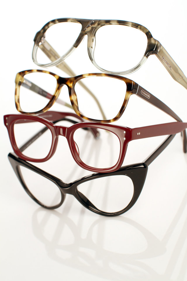 Eyelgasses have gone from nerd necessity to fashion accessory. Shown are glasses from designers Diesel, from top, Coach, Salt and Tom Ford. (Kirk McKoy/Los Angeles Times/MCT)