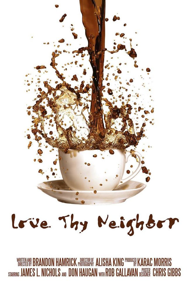 "Photo - This student-designed poster promotes the film ""Love Thy Neighbor."""