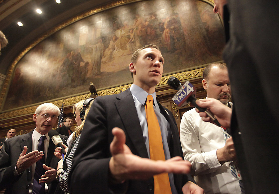 Wisconsin Senate Minority Leader Chris Larson, D-Milwaukee, reacts to Governor Scott Walker's state budget address following the speech at the Wisconsin State Capitol in Madison, Wis. Wednesday, February 20, 2013.  (AP Photo/Wisconsin State Journal, John Hart)