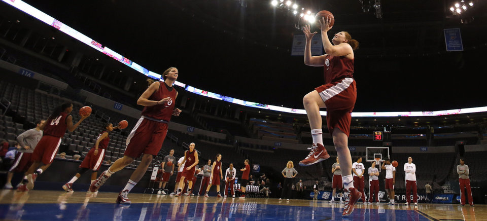 Photo - Oklahoma forward Joanna McFarland (53) shoots a lay up during the press conference and practice day at the Oklahoma City Regional for the NCAA women's college basketball tournament at Chesapeake Arena in Oklahoma City, Saturday, March 30, 2013. Photo by Sarah Phipps, The Oklahoman