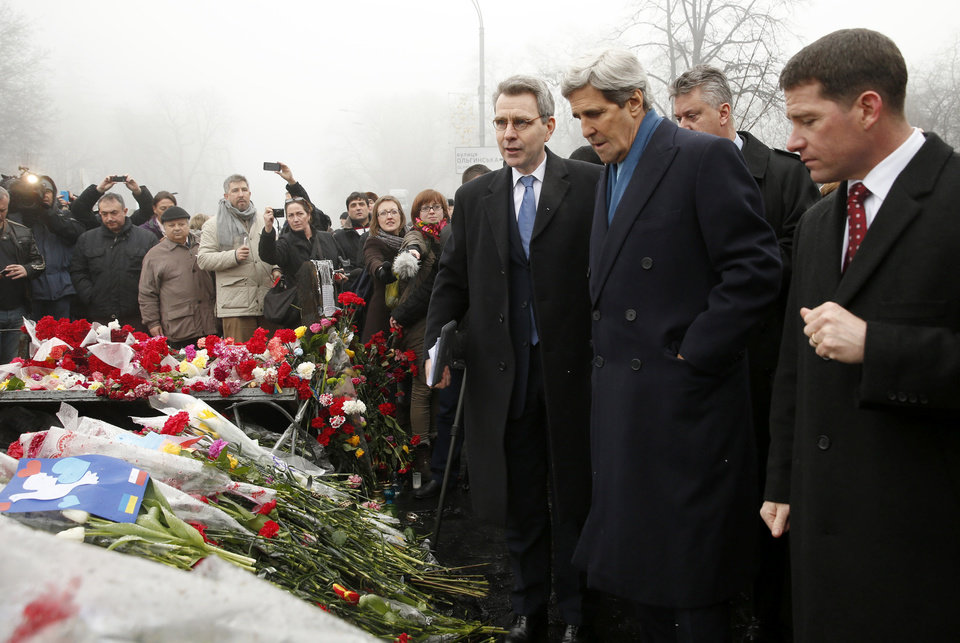 Photo - Secretary of State John Kerry visits the Shrine of the Fallen in Kiev, Ukraine, Tuesday, March 4, 2014. The Shrine of the Fallen, located on Institutska Street, honors the fallen Heroes of the