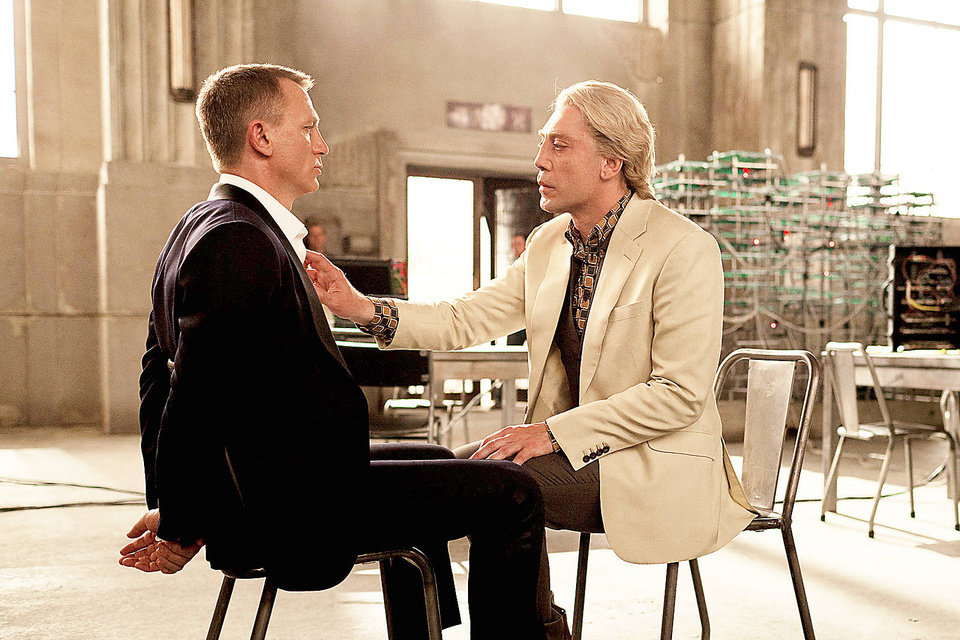 "Daniel Craig, left, and Javier Bardem in a scene from the film ""Skyfall."" Bardem portrays, Raoul Silva, one of the finest arch-enemies in the 50-year history of Bond films. SONY PICTURES PHOTO <strong>Francois Duhamel</strong>"