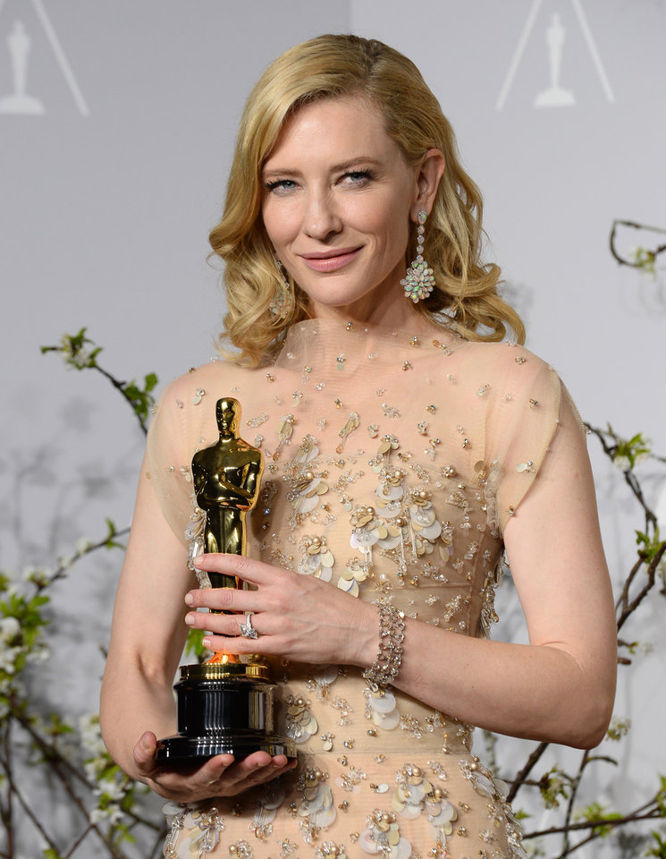 Photo - Cate Blanchett poses in the press room with the award for best actress in a leading role for