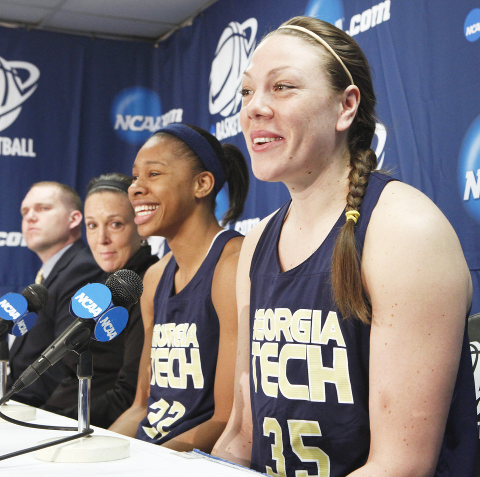 Georgia Tech coach MaChelle Joseph, second from left, Alex Montgomery, second from right, and  Brigitte Ardossi address the media on Saturday.  Photo by Steve Sisney, The Oklahoman