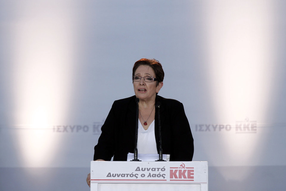 Photo -   Leader of the Greek Communist party Aleka Papariga speaks during the main pre-election campaign in central Athens, on Friday, June 15, 2012. Greeks cast their ballots this Sunday for the second time in six weeks, after May 6 elections left no party with enough seats in Parliament to form a government and coalition talks collapsed. (AP Photo/Kostas Tsironis)