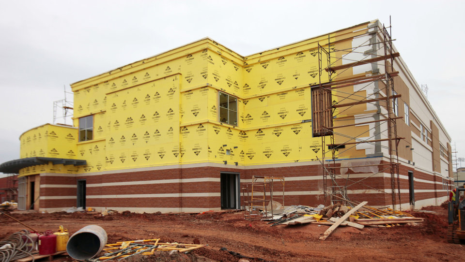 A freshman academy is under construction at Deer Creek High School.  Photos By David McDaniel, The Oklahoman