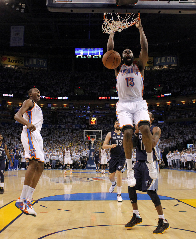 Photo - Oklahoma City's James Harden (13) dunks the ball beside Oklahoma City's Kevin Durant (35) during game five of the Western Conference semifinals between the Memphis Grizzlies and the Oklahoma City Thunder in the NBA basketball playoffs at Oklahoma City Arena in Oklahoma City, Wednesday, May 11, 2011. Photo by Bryan Terry, The Oklahoman