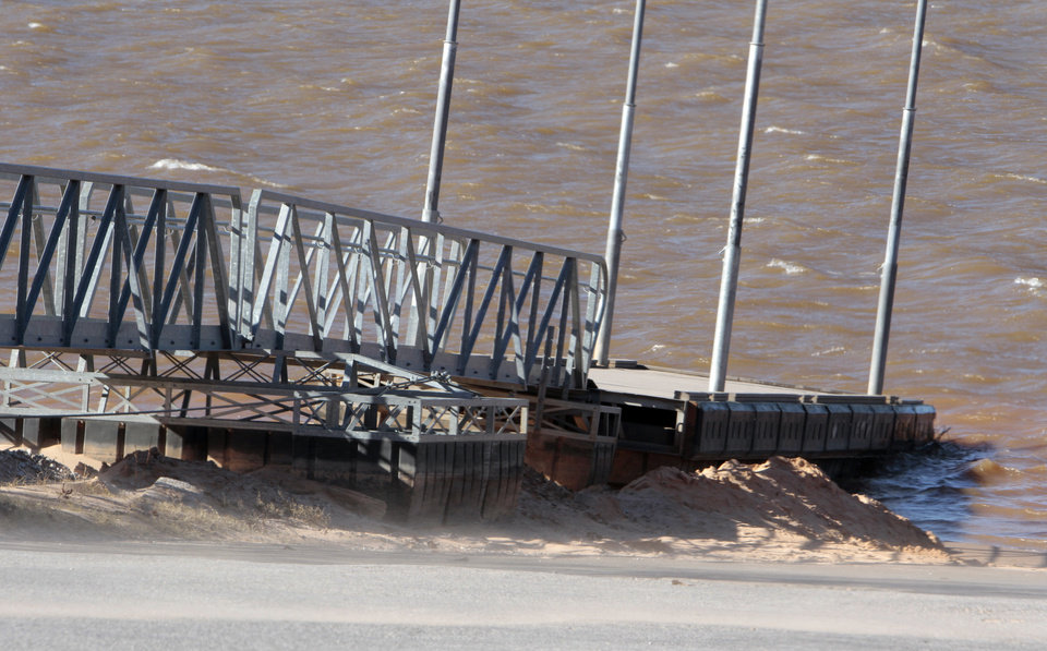 A dock barely extends into the water at Lake Thunderbird, where the water level is approaching an all-time low. PHOTO BY STEVE SISNEY, THE OKLAHOMAN <strong>STEVE SISNEY</strong>