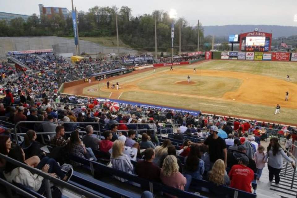Photo -  Major League Baseball is pushing a proposal to whack 42 teams — and several entire leagues — from its vast network of minor-league affiliates — including the Double-A Chattanooga Lookouts. [C.B. Schmelter/Chattanooga Times Free Press via AP]