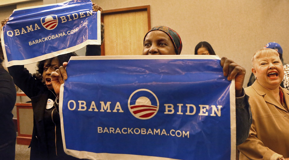 About 500 jubilant supporters of President Barrack Obama cheered,  danced , hugged and sang when it was announced that the president had been re- elected Tuesday night, Nov. 6, 2012. The Democrats held their watch party at the Reed Conference Center in Midwest City.    Photo by Jim Beckel, The Oklahoman
