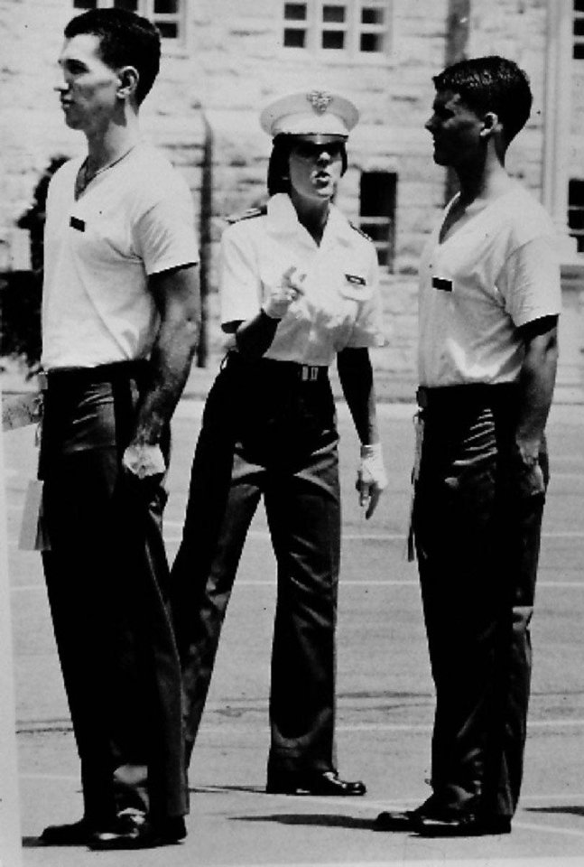 Photo - Brynnen Sheets Hahn, as an upperclassman, trains plebes during her  cadet days at West Point.  Photo provided by Brynnen Hahn