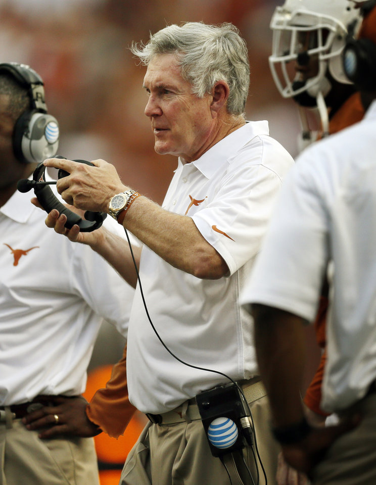 Texas head coach Mack Brown on the sidelines during a college football game between the Oklahoma State University Cowboys (OSU) and the University of Texas Longhorns (UT) at Darrell K Royal - Texas Memorial Stadium in Austin, Texas, Saturday, Nov. 16, 2013. OSU won, 38-13. Photo by Nate Billings, The Oklahoman