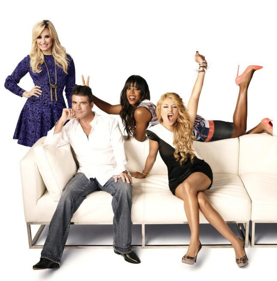 THE X FACTOR: L-R: Demi Lovato, Simon Cowell, Kelly Rowland and Paulina Rubio. CR: Nino Munoz / FOX
