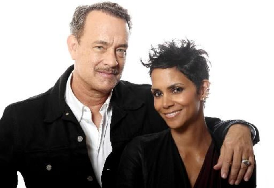 "In this Oct. 14, 2012 photo, actors Tom Hanks, left, and Halle Berry, from the film "" Cloud Atlas,"" pose for a portrait in Beverly Hills, Calif. (AP)"