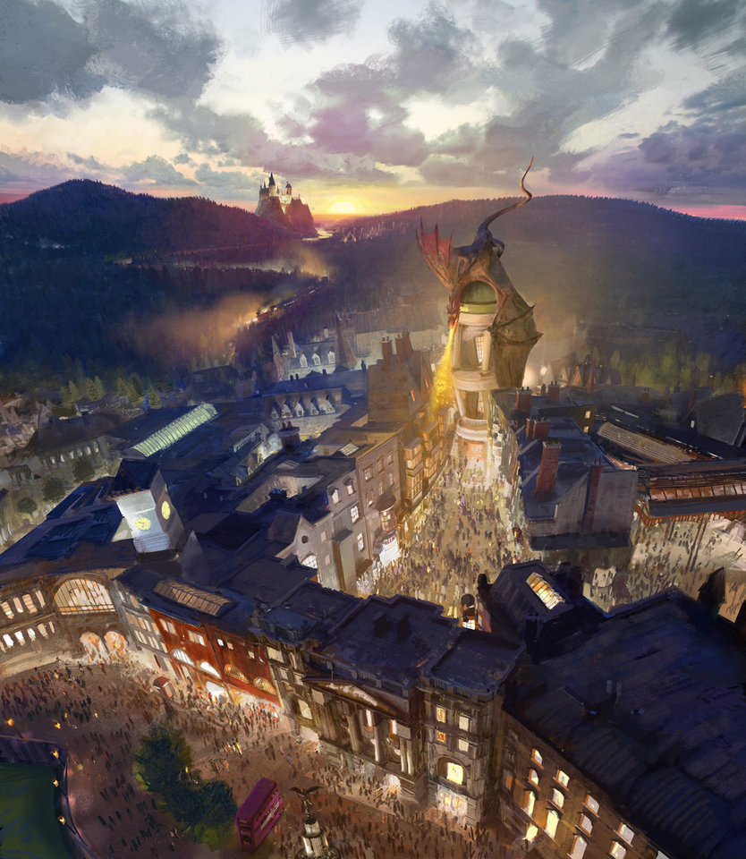 Photo - This artist rendering provided by NBC Universal shows the new Harry Potter-themed area of the Universal theme park in Orlando, Fla., which was inspired partly by the fictional Diagon Alley from the Harry Potter books and movies. The attraction will open this second Harry Potter-themed area this summer. (AP Photo/NBCUniversal)