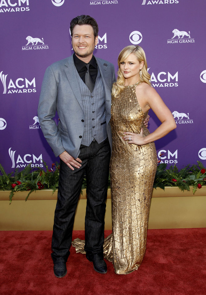 Blake Shelton and Miranda Lambert arrive at the 2012 Academy of Country Music Awards in Las Vegas. AP File Photo