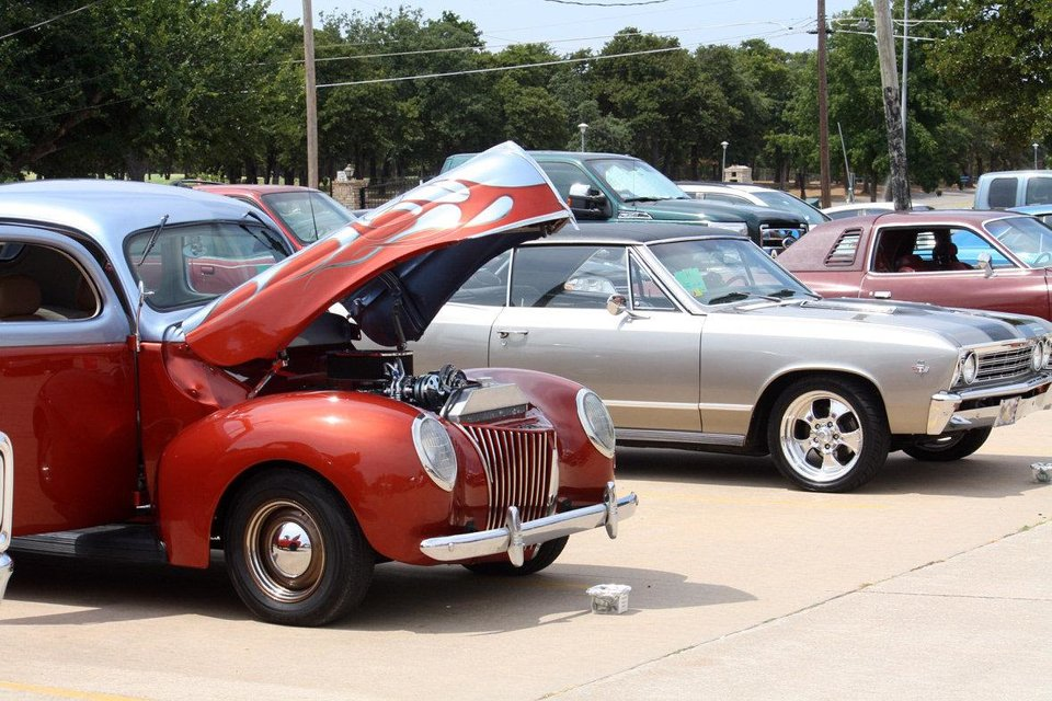 Photo - Cars await judges at the 2012 Open Class Car Show at Douglas Boulevard United Methodist Church in Midwest City. Photo provided